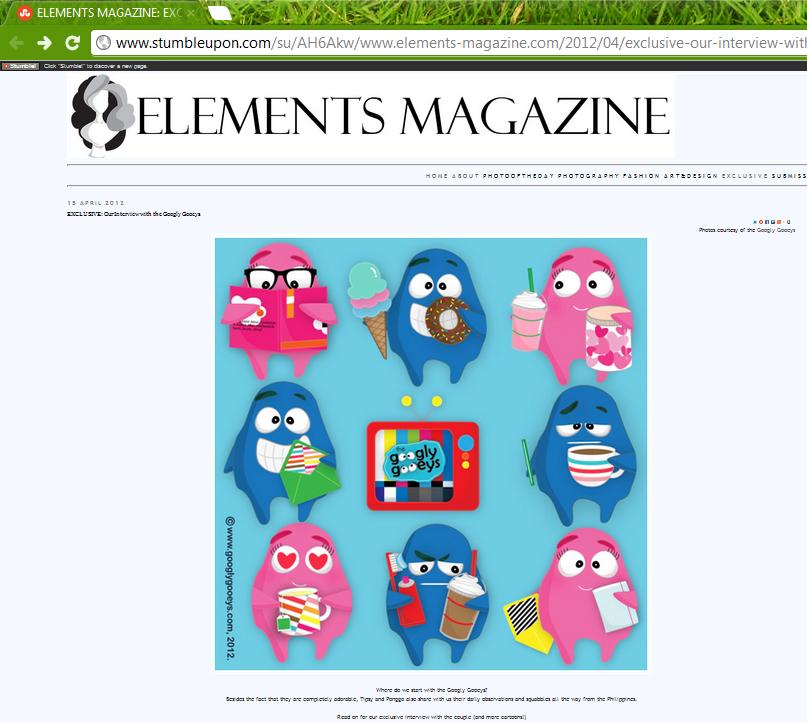 The Googly Gooeys on Elements Magazine, Malaysia