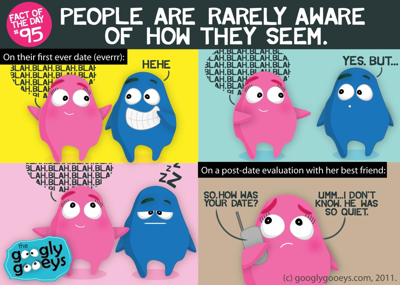 Fact of the Day #95: People are rarely aware of how they seem. Click here for more facts. Anything