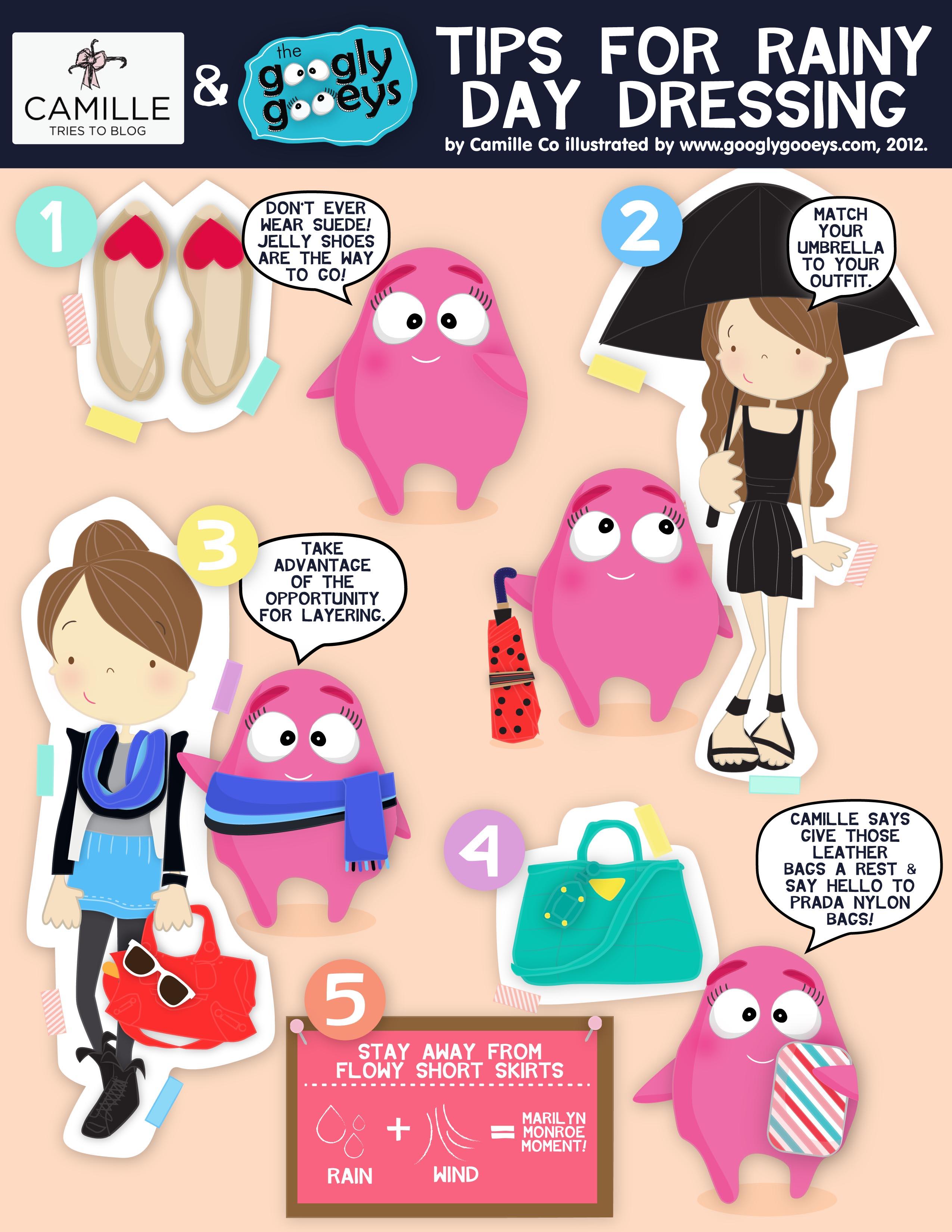 Camille Co + The Googly Gooeys: Rainy Day Dressing Tips! :)