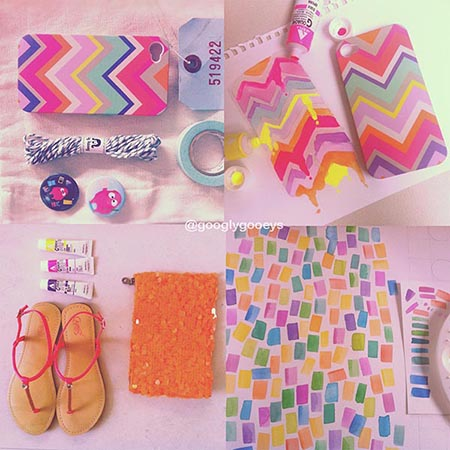 Instagram Neon Collage : Iphone Case, Neon Watercolor Tubes, Neon Slippers, Neon Party Bag, Watercolor Pattern