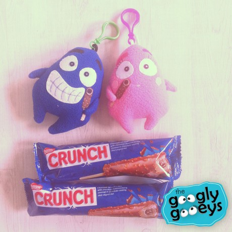 tipsy & ponggo plushies with Nestle Crunch ice cream