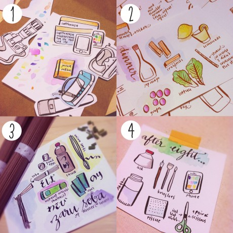Inky Doodles Collage Travel & Photography Elements, Salad, Zaru Soba Night, Tools