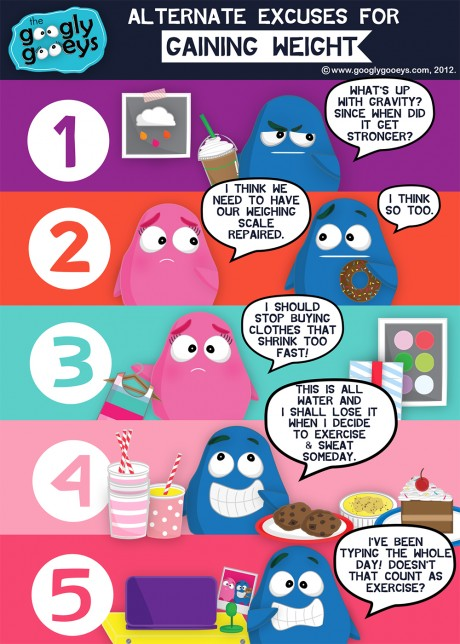 """Googly Gooeys Alternate Excuses for Gaining Weight 1) """"What's up with gravity?? Since when did it get stronger?"""" 2) """"I think we need ot have our weighing scale repaired."""" """"I think so too!"""" 3) """"I should stop buying clothes that shrink too fast!"""" 4) """"This is all water and I shall lose it when I decide to exercise & sweat someday"""" 5) """"I've been typing the whole day! Doesn't that count as exercise?"""""""