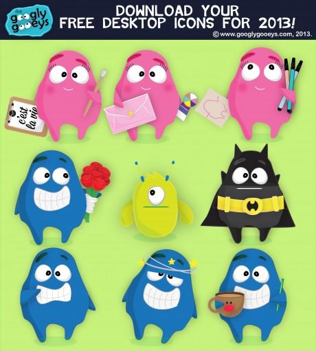 Googly Gooeys Desktop Icons for 2013