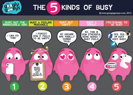 """Googly Gooeys The Five Kinds of Busy 1. Busy but the Manageable Kind """"I can do this!"""" 2. Busy & feeling miserable """"I forgot how it feels to be happy! 3. Busy but happy """"My dreams are finally coming true. 4. """"Busy & bored"""" So, this is how stressful being bored & busy feels. 5. Pretending to be busy. """"Yes, yes. I'm very busy"""""""