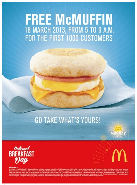 Free McMuffin, national breakfast day, march 18