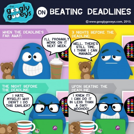 """Googly Gooeys Beating Deadlines When the deadline's far away: """"I'll probably work on it next week."""" 3 nights before the deadline: """"Well, there's still time. I think I can manage"""" The night before the deadline: """"I hate myself! Why didn't I do this earlier?"""" Upon beating the deadline: """"I knew it! I can do it in less than a day! Woohoo!"""""""