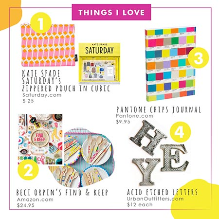 Things I Love Kate Spade Saturday, Pantone Journal, Beci Orpin's Find & Keep, Urban Outfitters Acid Etched Letters