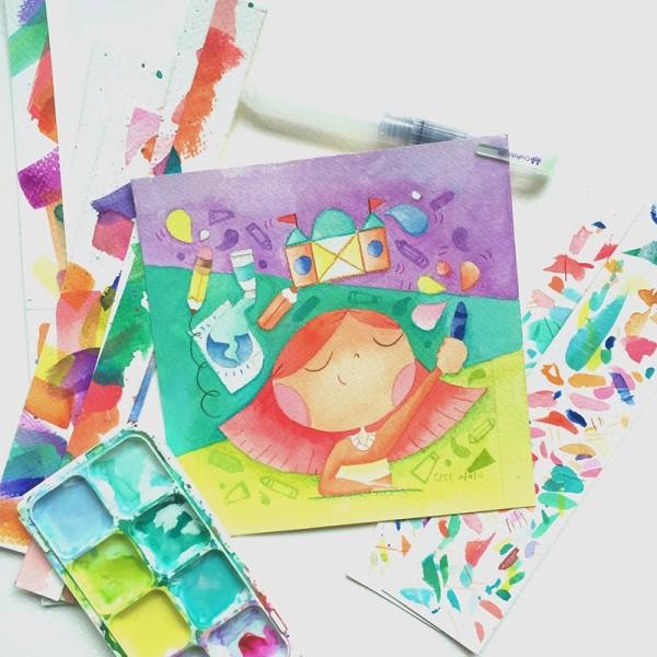 Watercolor Illustration Tiny Hands Big Dreams