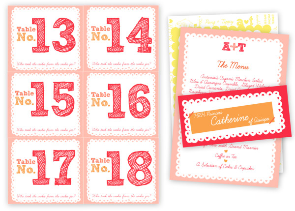 Table Numbers Note Pads & Name Tags