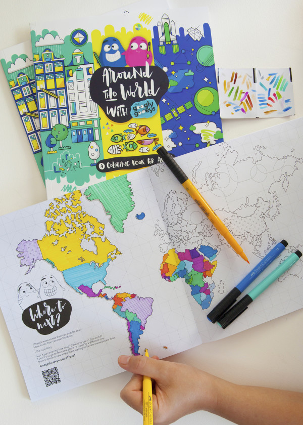 World Map Coloring Book Around the World with the Googly Gooeys