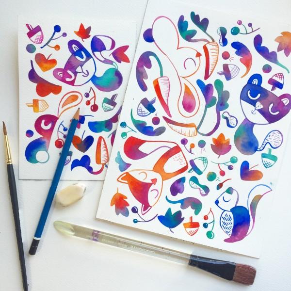 Watercolor Doodles Animals (Foxes Etc)
