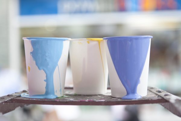 Paint in Paper Cups
