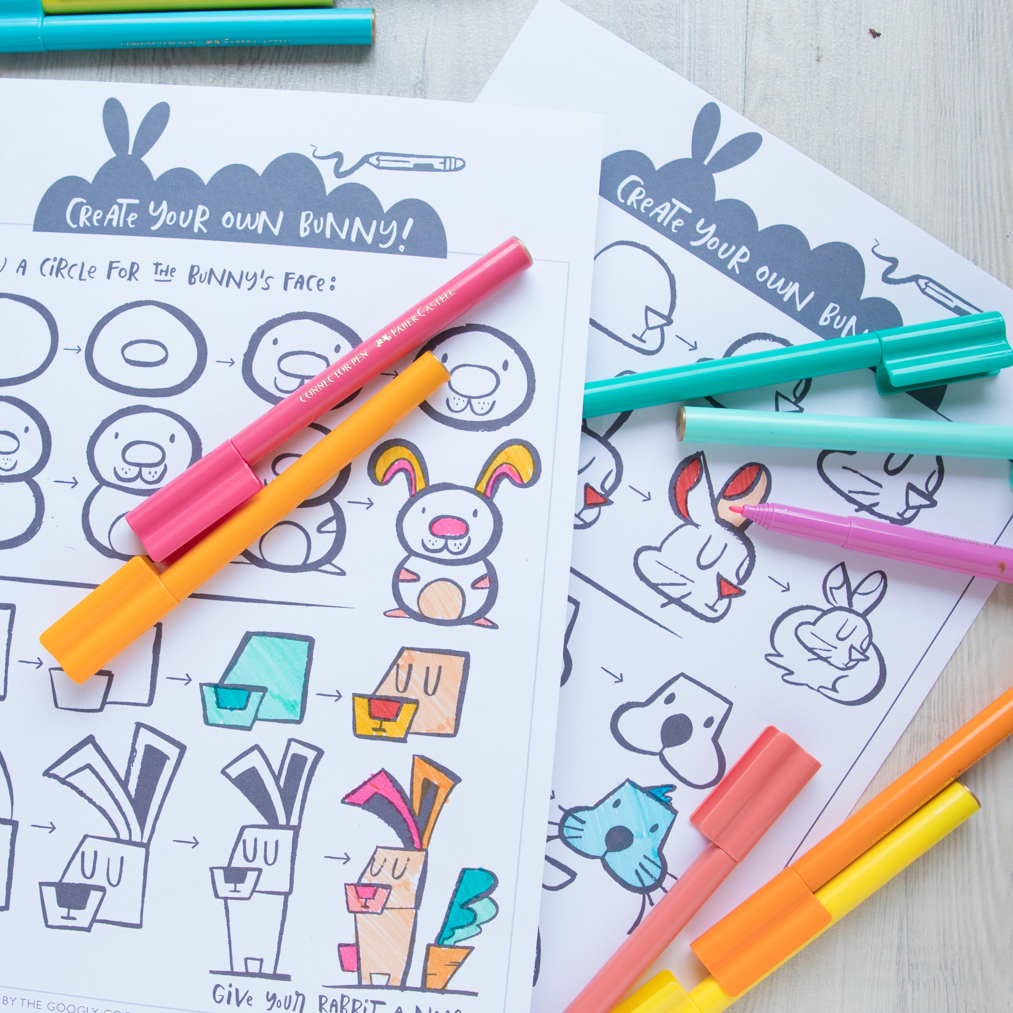 Downloadable Drawing Worksheets: How to Draw a Bunny - Googly Gooeys ...