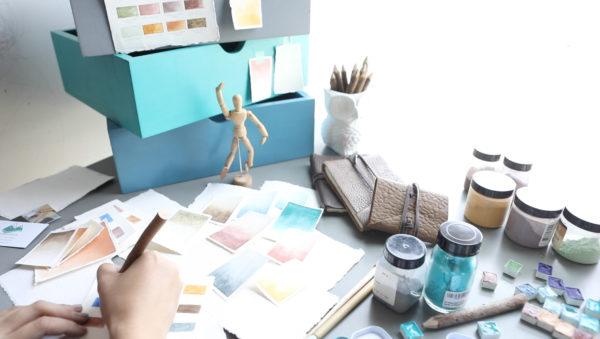 Handmade Watercolor Desk